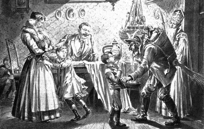 """Now now Timmy, be a good boy . . .""  Nikolaus and Krampus in Austria. Newspaper-illustration from 1896.  From WikiMedia."