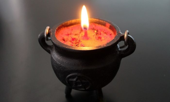 Candle in a Cauldron, from Max Pixel.