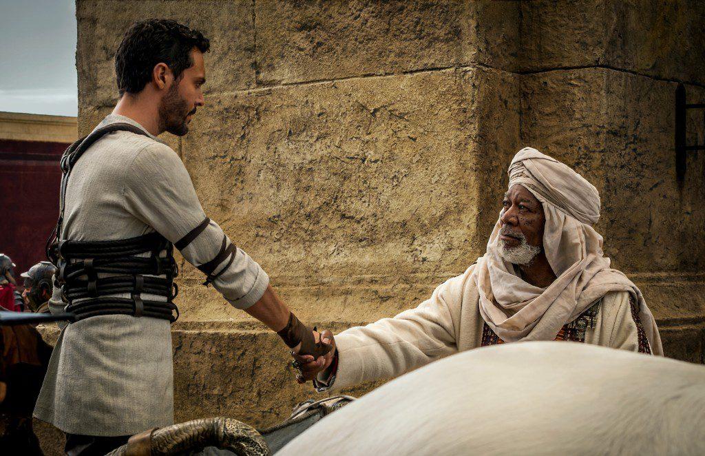 Jack Huston plays Judah Ben-Hur and Morgan Freeman plays Ilderim in Ben-Hur from Metro-Goldwyn-Mayer Pictures and Paramount Pictures.