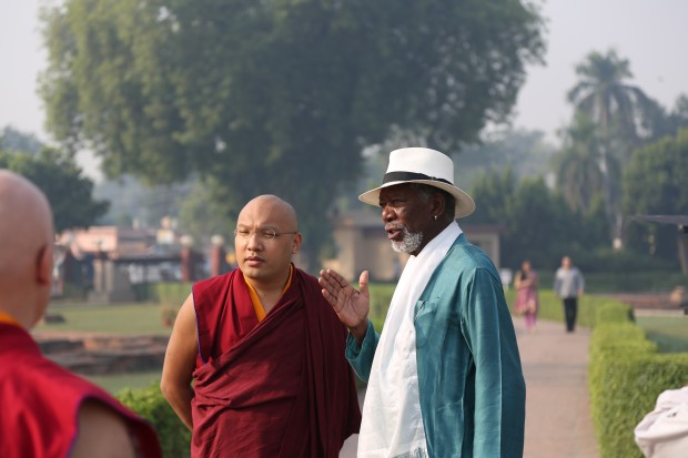 BODH GAYA, INDIA - Morgan Freeman speaking with His Holiness the 17th Gyalwang Karmapa at Bodh Gaya.