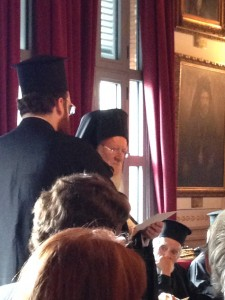 The Ecumenical Patriarch Bartholomew delivers his welcoming address