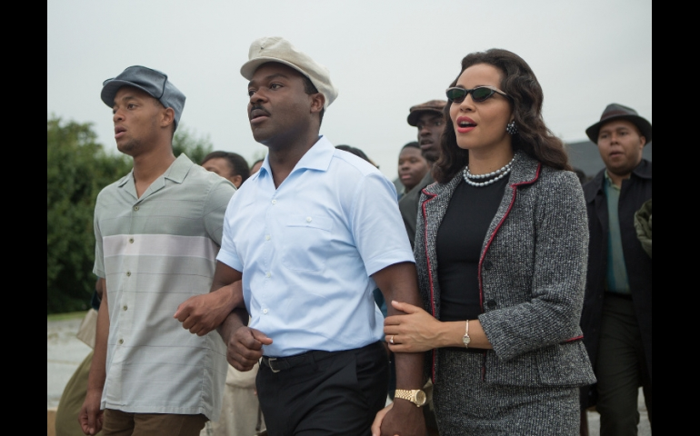 """David Oyelowo, center and Carmen Ejogo star in a scene from the movie """"Selma."""" (CNS/Paramount)"""