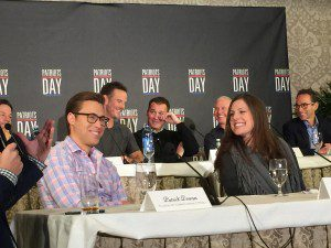 """The real life Patrick Downes and Jessica Kensky whose story is portrayed in """"Patriot's Day"""" (they both lost their left legs). They were delightful at the press day - and still have far to go with their healing."""