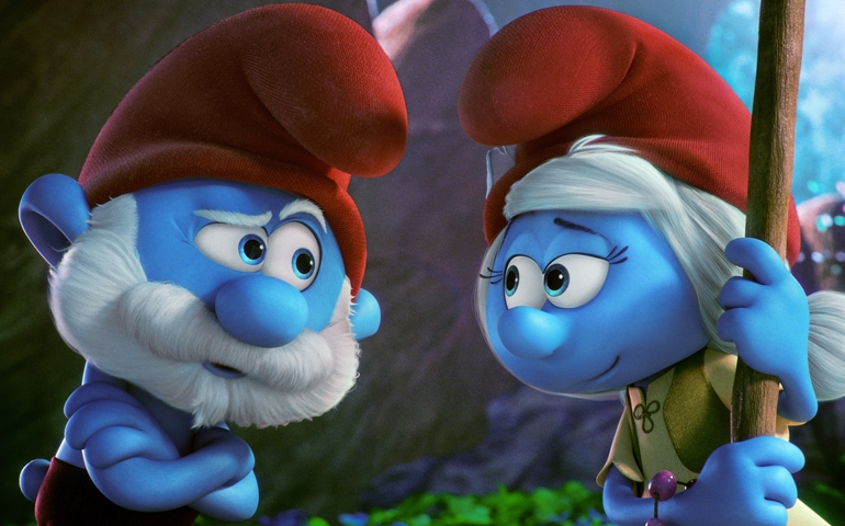 "Papa Smurf, voiced by Mandy Patinkin, and SmurfWillow, voiced by Julia Roberts, appear in the animated movie ""Smurfs: The Lost Village."" (CNS photo/Sony)"