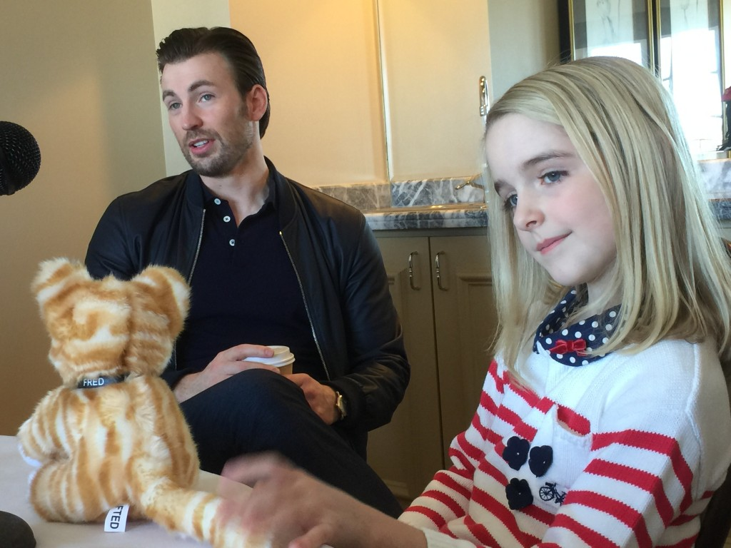 "Chris Evans and McKenna Grace at the press day for ""Gifted"" - great chemistry!"