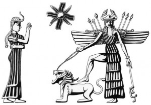 Inanna with two of her symbols, the lion and the eight-pointed Venus star.
