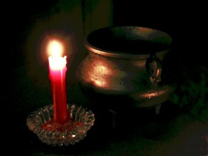 candle and cauldron