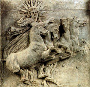 Helios, from the northwest pediment of the Temple of Athena in Troy. Photo via WikiMedia Commons.