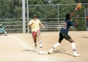 Playing in a low-level industrial league in 1985. I was out.
