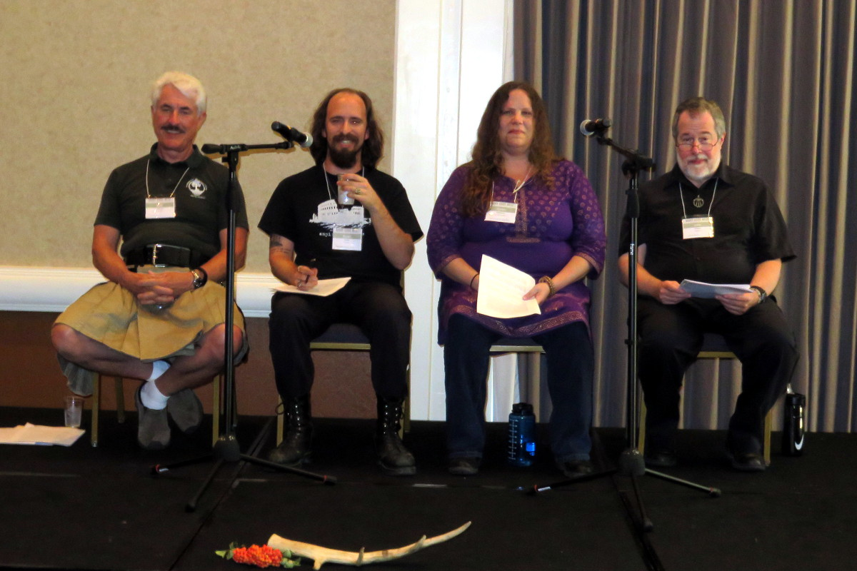 opening panel on Building Polytheist Community: Kirk Thomas, Ryan Smith, Syren Nagakyrie, John Beckett. Photo by Cyn Qoaad.