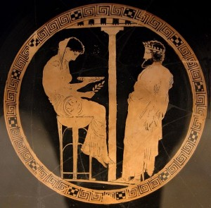 Consulting the Pythia – 440–430 BCE. Image via WikiMedia Commons