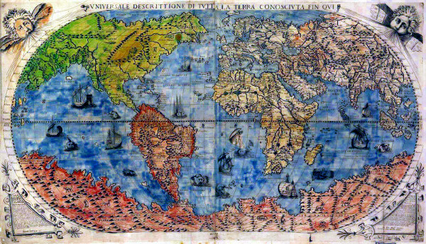 a map of the world from 1565 – via Wikimedia Commons
