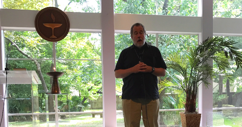 speaking at the Unitarian Fellowship of Houston, July 2017