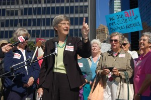 "Sister Simone Campbell of ""Nuns On The Bus"" speaking in lower Manhattan.  Source: Thomas Altfather Good, 2012, Wikimedia C.C."