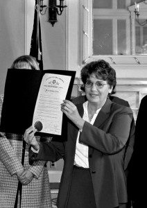 Me, at ceremony presenting resolution against violence against women.