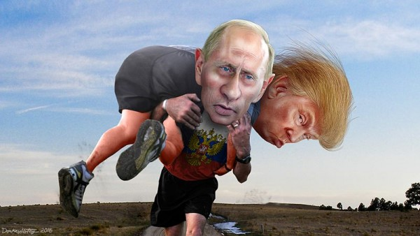 Is Vladimir Putin helping Donald Trump win the race for President of the United States? This caricature of Donald Trump was adapted from Creative Commons licensed images from Michael Vadon's flickr photostream. This caricature of Vladimir Putin was adapted from a Creative Commons licensed photo from the Russian Presidential Press and Information Office available via Wikimedia. This background was adapted from a Creative Commons licensed photo from Jeff Ruane's Flickr photostream. The Russian symbol was adapted from a photo in the public domain available via Wikimedia. This bodies were adapted from a Creative Commons licensed photo from The U.S. Army's Flickr photo stream. This file is licensed under the Creative Commons Attribution-Share Alike 2.0 Generic license. Source: https://www.flickr.com/photos/donkeyhotey/28512617446/