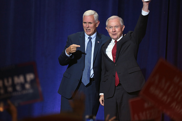 Governor Mike Pence of Indiana and U.S. Senator Jeff Sessions of Alabama speaking to supporters at an immigration policy speech hosted by Donald Trump at the Phoenix Convention Center in Phoenix, Arizona. Photo Source: Flickr Creative Commons by Gage Skidmore https://www.flickr.com/photos/gageskidmore/