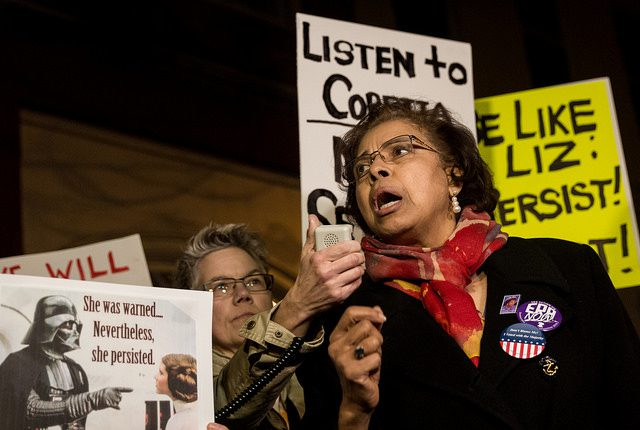 Dr. E. Faye Williams, National President/CEO of the National Congress of Black Women, speaking outside Mitch McConnell's house on Capitol Hill as the Senate votes on Jeff Session's confirmation Photo Source: Flickr Creative Commons by Laurie Shaull https://www.flickr.com/photos/number7cloud/