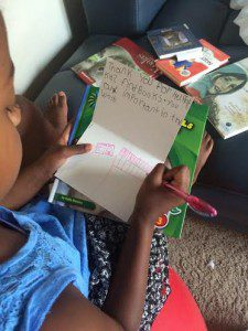 """The kids wrote thank you notes, including this one to the librarian at the Austin Public Library that helped my daughter find books about animals. Her words of choice for her: """"Thank you for helping kids find books.  You are important in the world."""""""