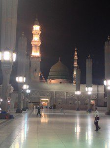 """Mosque of Prophet Mohammed in Madinah Posted on Facebook on 9 June 2015 on The Khan Playground with the text: """"For all the lovers...for all the women longing to greet our Master of everlasting beauty, grace and justice through the main entrance.. """"Ya Nabi Salaam Alayka"""""""