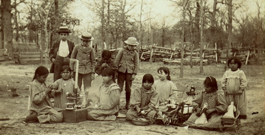 Children in Kickapoo Village, Oklahoma, circa 1890. Friends ran Indian day schools and boarding schools here and in about thirty other locations. boulderfriendsmeeting.org