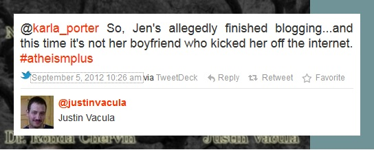 So, Jen's allegedly finished blogging...and this tie it's not her boyfriend who kicked her off the internet.