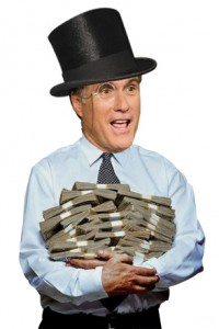 Romney with huge sacks of money...and a monocle.