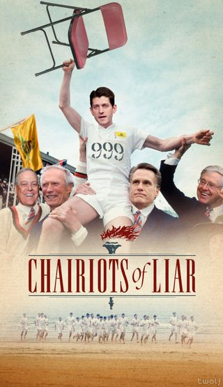 """Movie poster for Chariots of Fire remade as """"Chariots of Liar"""" with Ryan's face."""