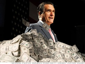 Romney in a big pile of money.