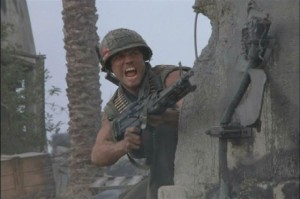 A soldier unloading with a huge gun and rage face.