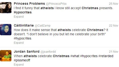 twitter screencap of people saying atheists are hypocrites for celebrating christmas - How Many People Celebrate Christmas