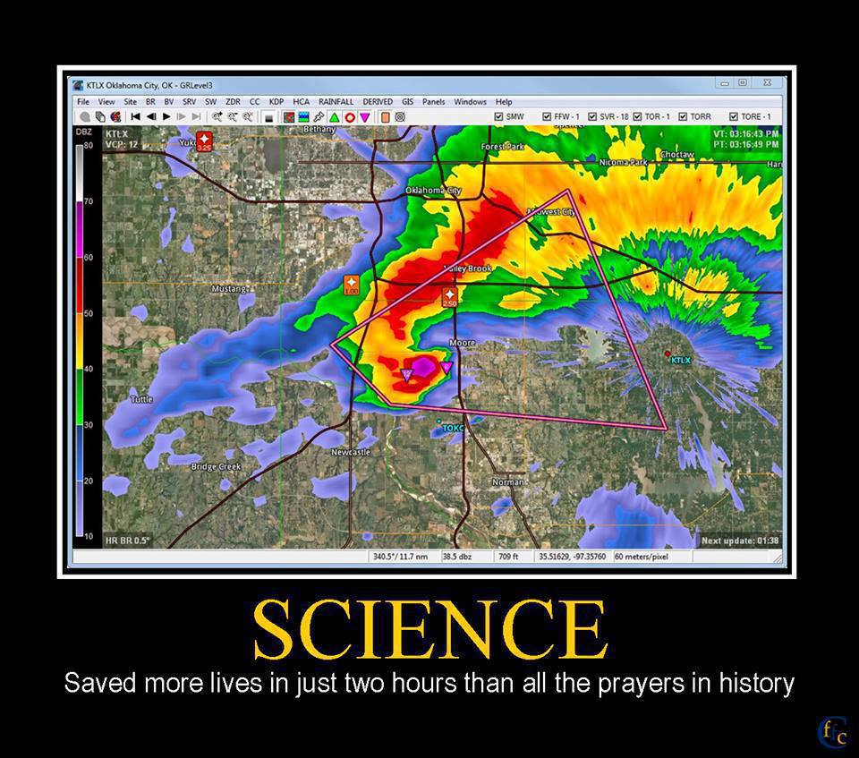 Picture of satellite weather radar over Moore, Oklahoma.  Caption: Science: Saved more lives in just two hours than all the prayers in history.