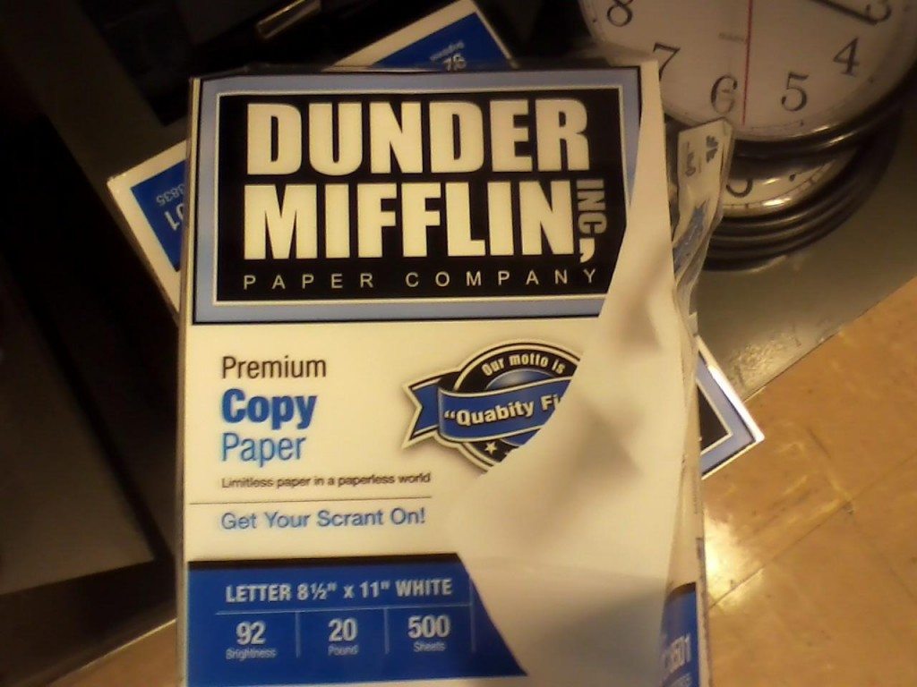 A packet of paper from the Dunder Mifflin Paper Company.