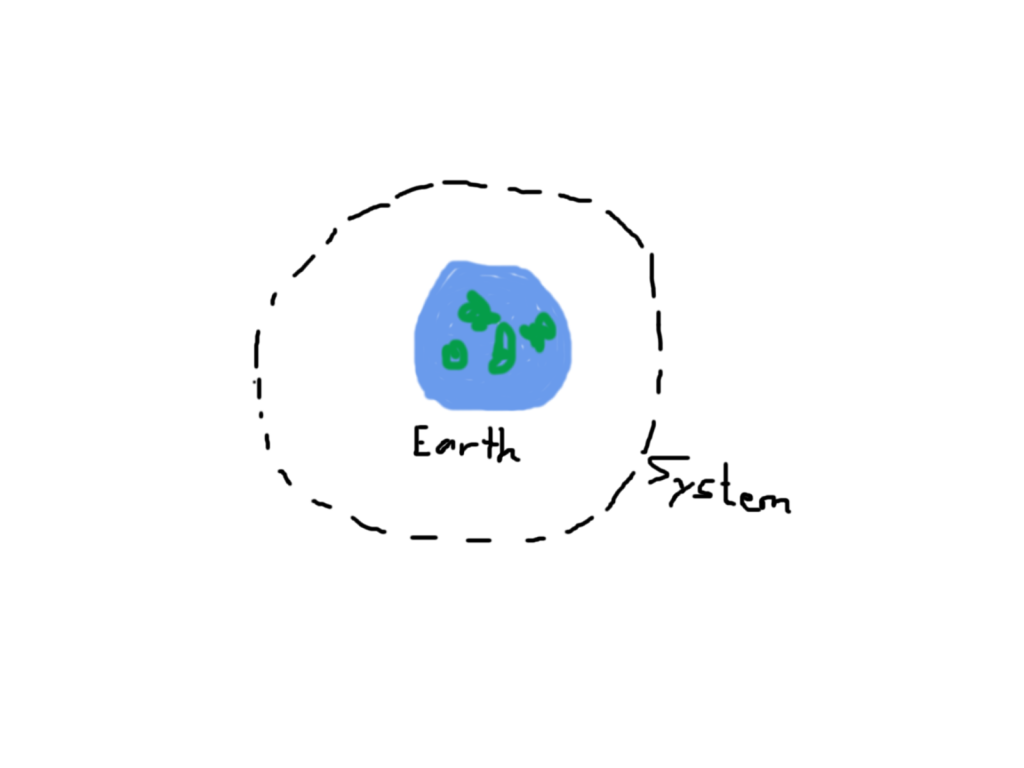 Drew a dotted line around the earth, labeling it the 'system'