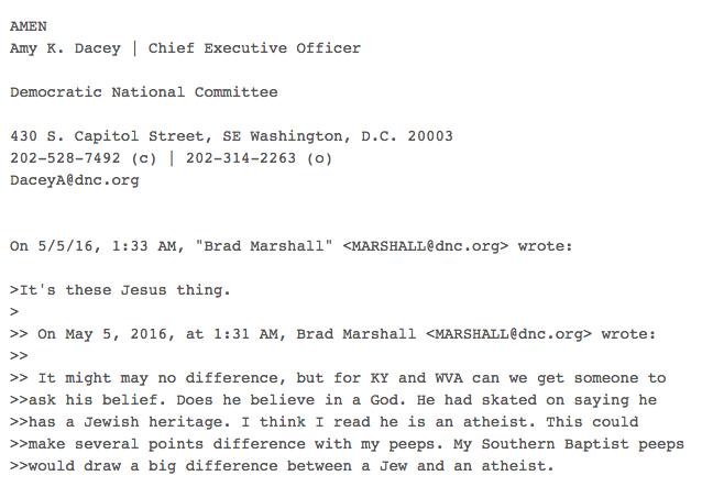 DNC Email: Bernie the Atheist