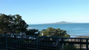 A beachfront view of Rangitoto Island from 47 The Strand where the Pacific Area Presidency are accommodated.