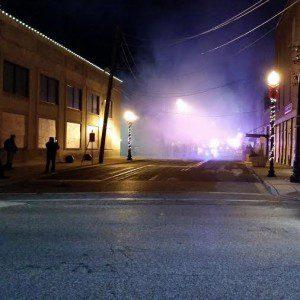 Businesses burning.