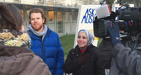 Ask a Muslim - Mona Haydar and Sebastian Robins. Photo provided by Mona Haydar