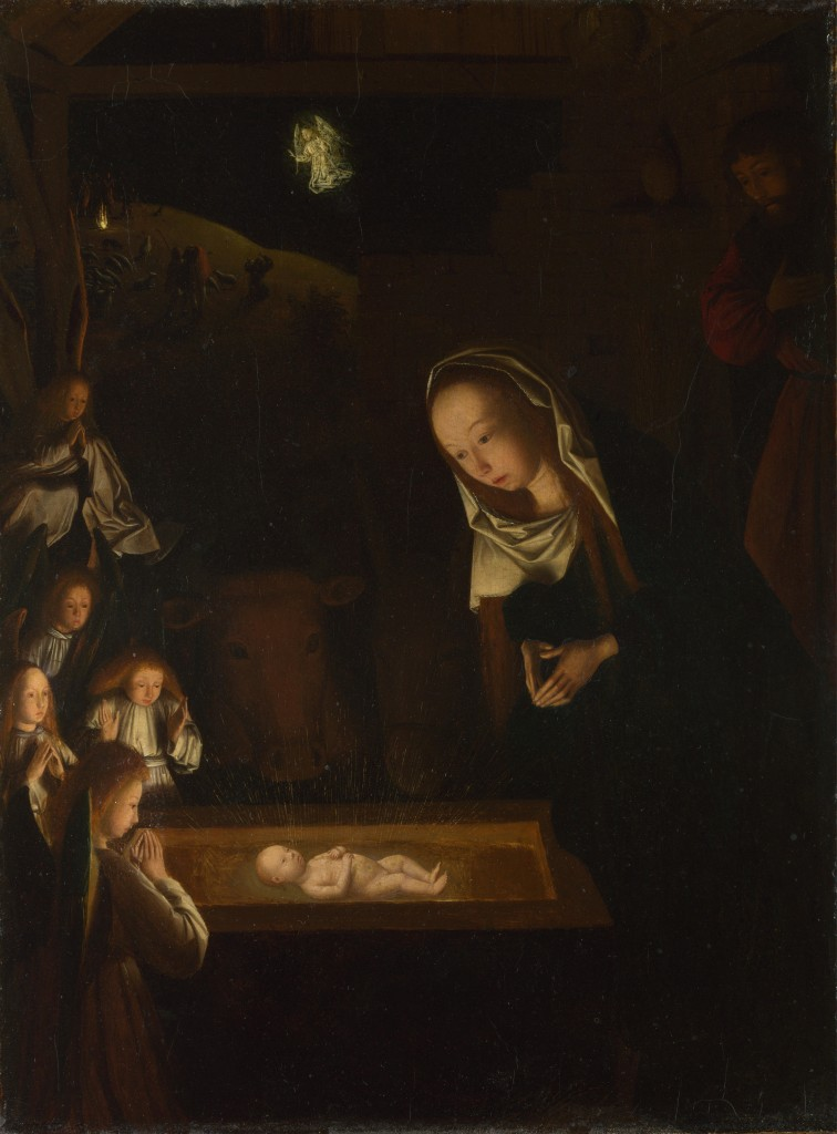 Geertgen tot Sint Jans, The Nativity at Night, c 1490. At the National Gallery. Wikimedia.