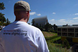 An SFGMC member takes in the US Air Force Academy Cadet Chapel