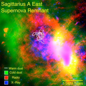 SOFIA data reveal warm dust (white) surviving inside a supernova remnant. The SNR Sgr A East cloud is traced in X-rays (blue). Radio emission (red) shows expanding shock waves colliding with surrounding interstellar clouds (green). Credit: NASA/CXO/Herschel/VLA/SOFIA-FORCAST/Lau et al.