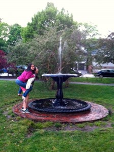 drinking from a fountain