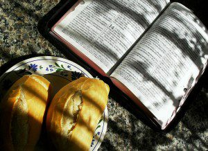 """""""Man shall not live by bread alone, but by every word that comes from the mouth of God"""" (Matthew 4:4)."""