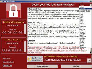 Screenshot of ransomware attack