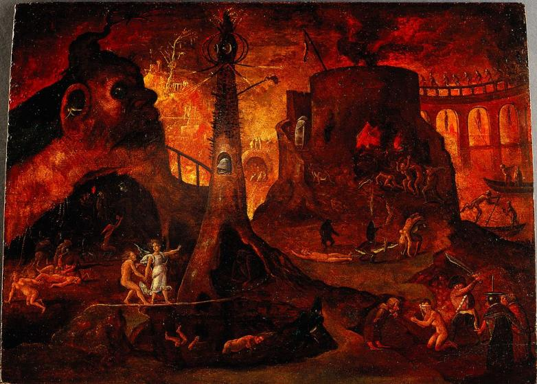 An_angel_leading_a_soul_into_hell._Oil_painting_by_a_followe_Wellcome_L0030887