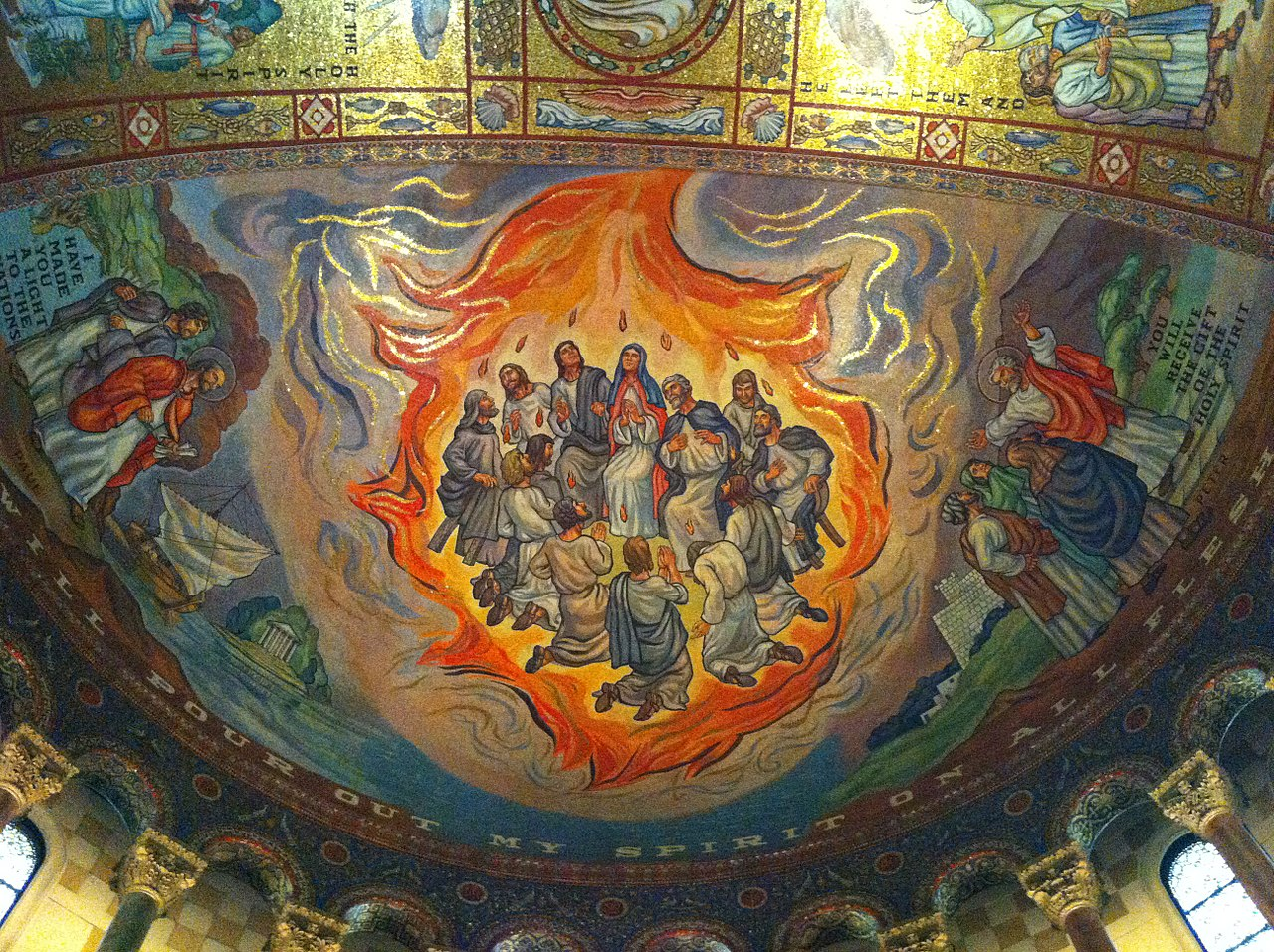 A mosaic representing Pentecost on the ceiling of the cathedral; By Pete unseth - Own work, CC BY-SA 4.0, Link