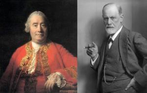 David Hume by Allan Ramsay, 1766 and Sigmund Freud by Max Halberstadt, c. 1921