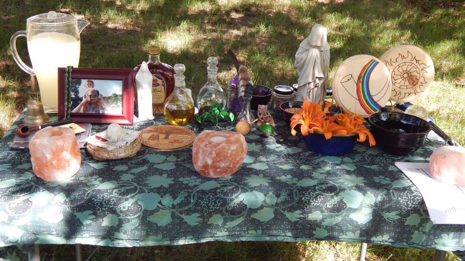 Altar honoring Sunna, Nerthus, Heimdall, Ancestors and Land Wights photo by Amber Doty