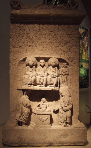 Aufanian Matronae from a Gallo-Roman temple site,  via Wikicommons, creative commons license