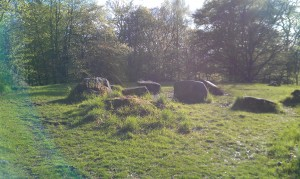 "Part of a stone circle, listed on a local sign post as ""Iron Age Earth Works""."